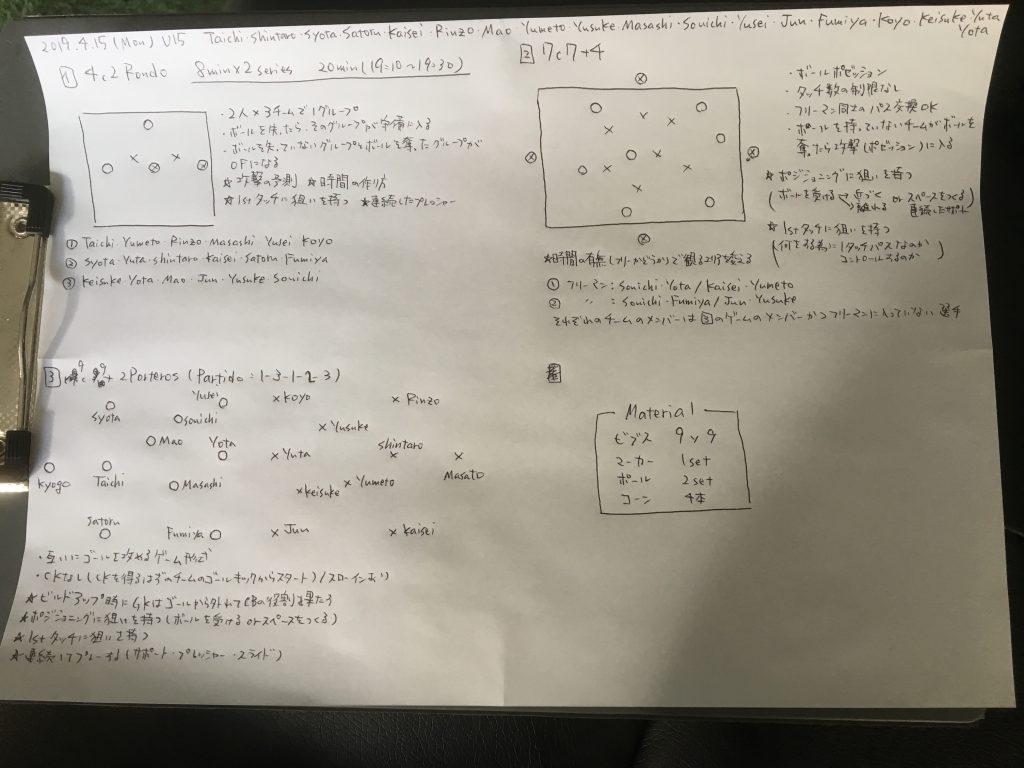 今日の練習メニュー 012(4/15月曜)
