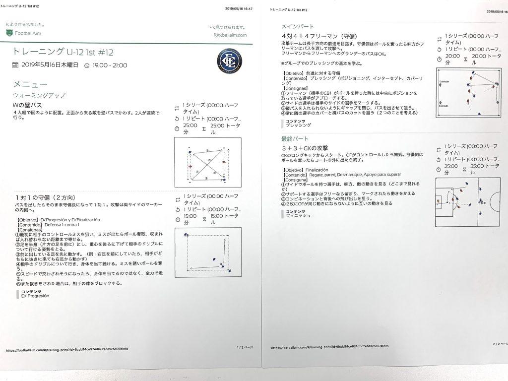 今日の練習メニュー028 5/16木