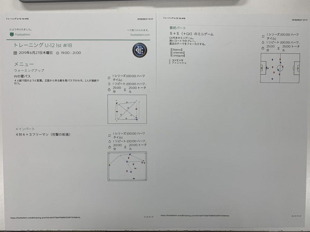 きょうの練習メニュー&MVP 051 (6/27木)