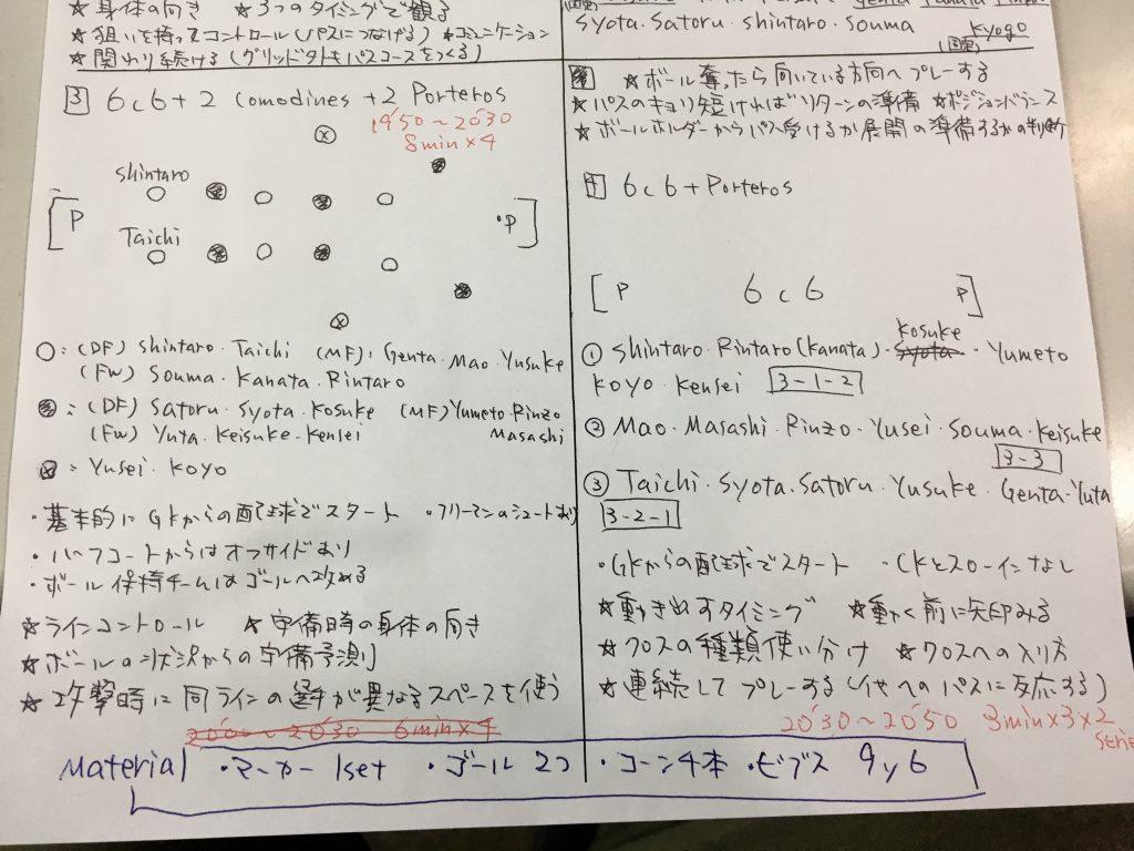 今日の練習メニュー 048  6/21(金)