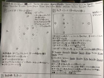 今日の練習メニュー  039(6/10月)