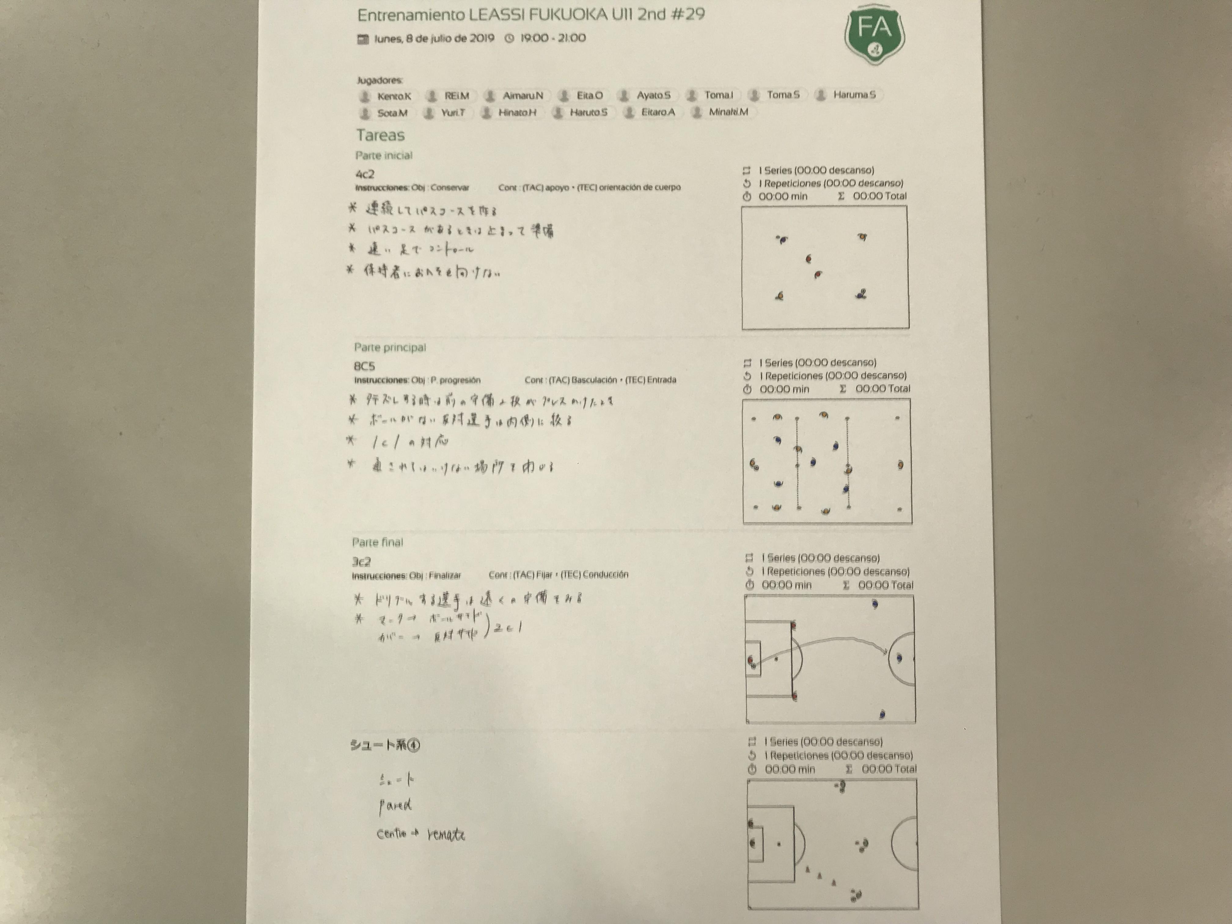 今日の練習メニュー&トレーニングMVP 054(7/8月)