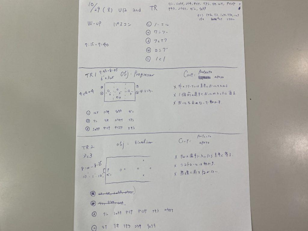今日の練習メニュー&MVP 101(10/29火)