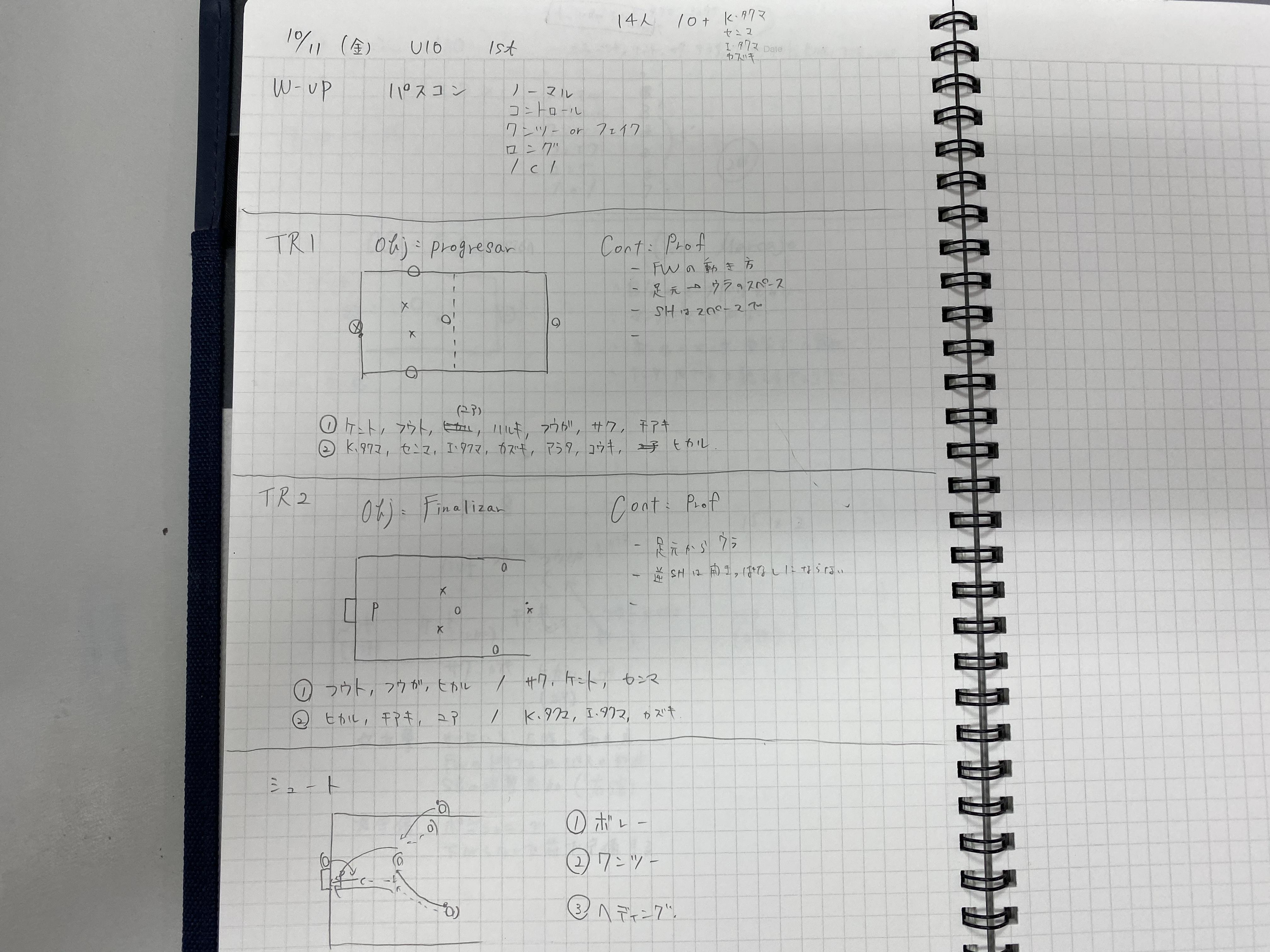 今日の練習メニュー&MVP 094! (10/11金)