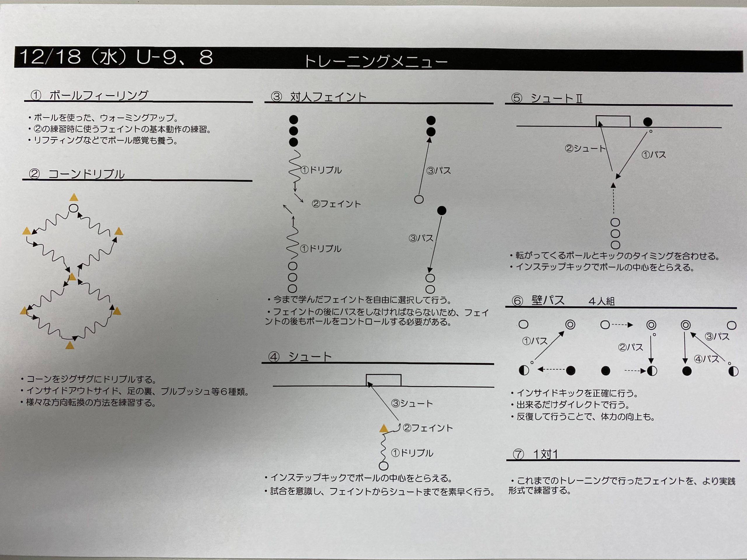 今日の練習メニュー131 12/18(水)