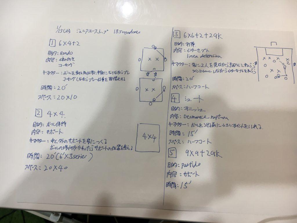 今日の練習メニュー139 1/15(水)