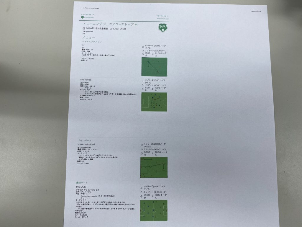 2021シーズン ジュニアユース 今日のTRメニュー #1(11/13 金)〜新シーズン始動〜